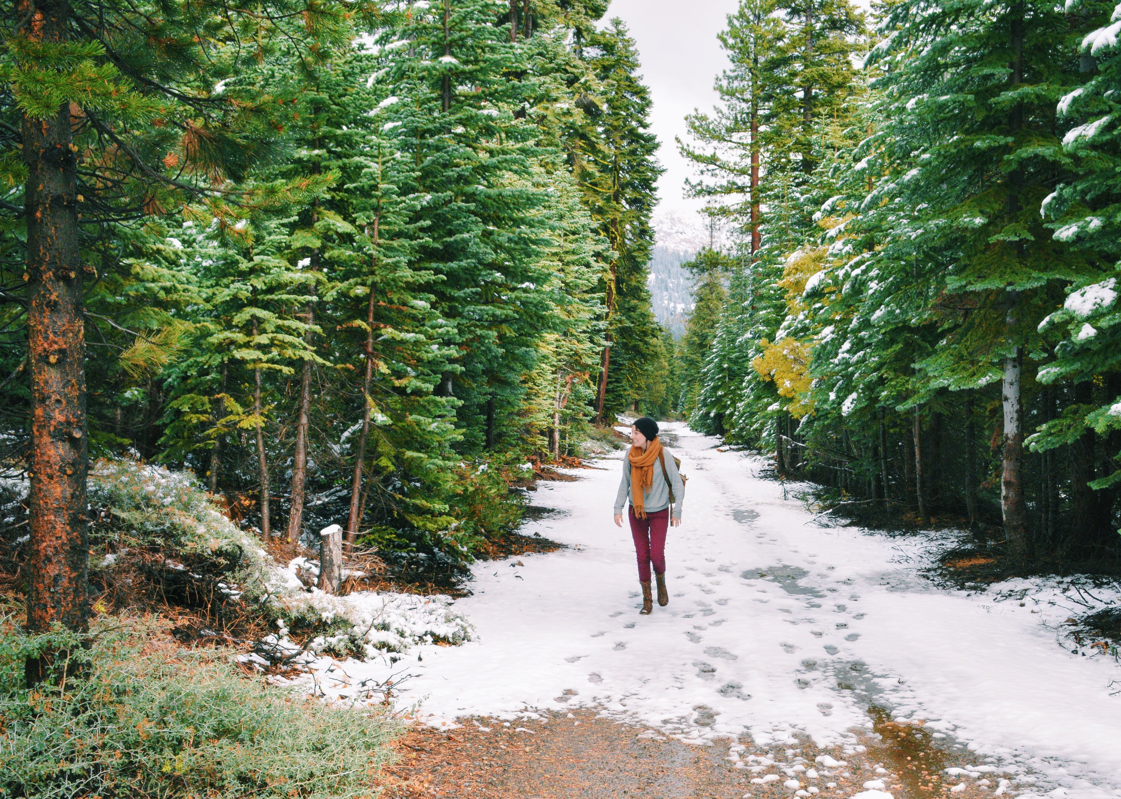 hiking in snow