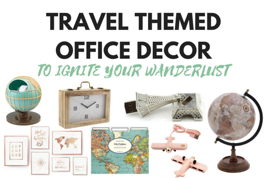 Travel Themed Office Decor To Ignite Your Wanderlust - A Jaunt With on world map comforter set, world map dining room, world map wall office, world map wall decal, world map vintage, world map flooring, world map games, world map wall cling, world map lanterns, world map bookends, world map rings, world map mirrors, world map pillows, world map apparel, world map vases, world map wall paint, world map stationery, world map floral, world map wall mural, world map decorative box,